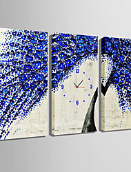 E-HOME® Tree Blue Flower Clock in Canvas 3pcs
