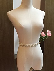 Chiffon Wedding / Party/ Evening Sash-Beading / Rhinestone Women's 86 ½in(220cm) Beading / Rhinestone