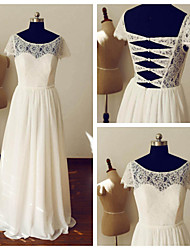 A-line Wedding Dress - Ivory Floor-length Scoop Chiffon / Lace
