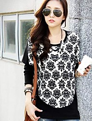 Women's Print Black Blouse , Round Neck Long Sleeve