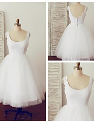 Vestido de Noiva - Branco Trapézio U Profundo Longuete Algodão / Tule