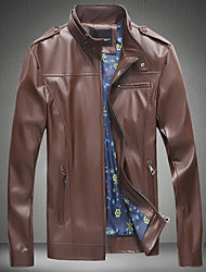 Men's Stand Collar Zip Closed Synthetic PU Leather Rider Slim Jacket with Zipper Pockets, Lined