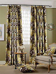 (Two Panels)Modern Flower Printed Faux Silk Polyester Blackout Curtain(Sheer Not Included)