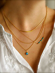 Women's Simple Fashion Handmade Turquoise Beads Eyes Curved Copper Tube Multilayer Pendant Necklace