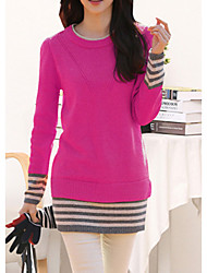 Women's Striped Red / Black / Orange Pullover , Casual Long Sleeve