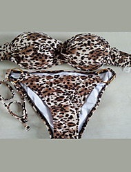 Women's Bandeau Bikinis, Animal Push-up Cotton Blends