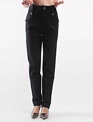 Women's Solid Black Suit Pants , Casual