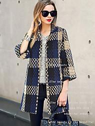 Women's Check Gray Coat , Work / Plus Sizes ¾ Sleeve Polyester