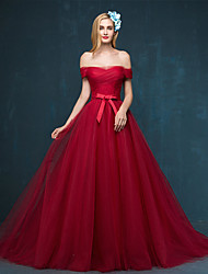 Formal Evening Dress A-line Off-the-shoulder Sweep / Brush Train Tulle with Side Draping