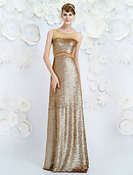 Formal Evening Dress - Champagne Sheath/Column Jewel Floor-length Tencel