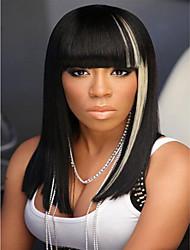 Black & Light Gray  Medium Cheap Price Women Lady Silky Straight  Synthetic Wave Wigs