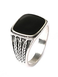Black Silver Retro Ring Carved Gemstone Straw Wedding Jewelry