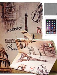 lexy® tracé des rues de Paris cas de stand PU cuir flip avec protecteur d'écran et un stylet pour iPad mini-4