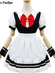 poliéster blanco y negro europa traje de sirvienta tipo 3