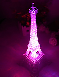 10 * 10 * 15cm pulsador navidad cambiar luz de colores monocromáticos romántica a la luz de la torre Eiffel llevó la lámpara