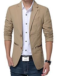 Blazer Hommes,Couleur Pleine Décontracté / Quotidien Travail Grandes Tailles Manches Longues Coton Polyester