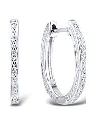 Women's Classic Sterling Silver set with Diamond Clip Earrings