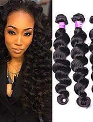 cabelo humano eurasian cabelo virgem solto onda 3pcs tece derramamento onda solta preto natural eurasian livre