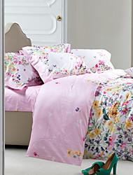 Lush Floral Pattern Light Pink Cotton Bedding Set 4-Piece