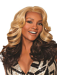 Synthetic Mixture Color Blonde & Brown Medium Kinky Wave Wigs