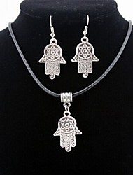 Palm Pendant Silver Necklace & Earrings Jewelry Set