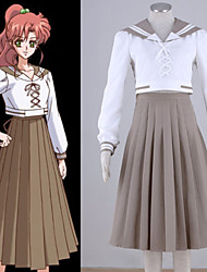 Inspirado por Sailor Moon Sailor Jupiter Anime Fantasias de Cosplay Ternos de Cosplay Patchwork Branco Top / Saia