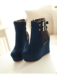 Women's Shoes Wedge Heel Fashion Boots Boots Casual Black / Blue