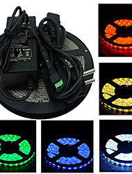 Z®zdm 5m 300x5050 smd led strip light et connecteur et ac110-240v to dc12v6a eu us uk au transformer