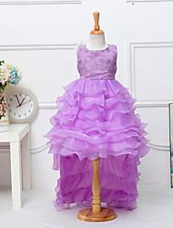 Girl's Blue / Purple / White Dress , Floral Cotton Blend / Polyester All Seasons