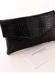 Women Clutch Evening Bag PU Fold over Clutch Magnetic Black Silver