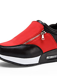 Women's Spring Summer Fall Winter Platform Leatherette Outdoor Casual Athletic Flat Heel Creepers Platform Zipper Chain Black Red
