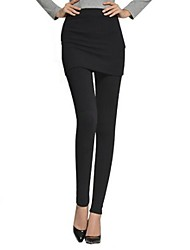 Dominic Women's Solid Color Black Pants , Casual Mid Rise Skinny