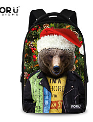 FOR U DESIGNS Unisex Braided Cute Bear Christmas Design Polyester Sports Laptop Backpacks