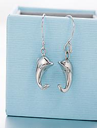мода 925 серебряных капель мило дельфин серьги женские