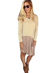 Women's Casual/Daily Loose Dress,Patchwork Round Neck Asymmetrical Long Sleeve Pink / Beige Others Fall
