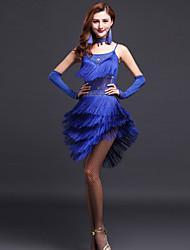 Debemos vestidos latinos de los vestidos de la danza mujeres con los pendientes / los guantes / la corbatería