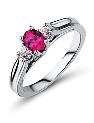 Women's Fashion Sterling Silver set with Created White Sapphire and Created Ruby Rings