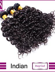 """8 """"-30"""" natürliche schwarze indische tiefe Wellung Haarwebart 3pcs / lot 100% unverarbeitetes indisches reines tiefes lockiges Haar"""