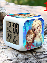 High Quality Creative Unique Lovely Snowman Colorful Small Alarm Clock LED Electronic Gifts / Cartoon Alarm Clock