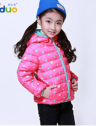 2-8T Kid Girls Winter Sweet Dots and Bear Waterproof Zipper Down Jacket With Cap