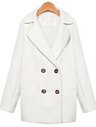 black Women's Solid Color Blue / Pink / White Coats & Jackets , Casual Stand Long Sleeve