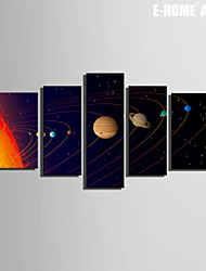 E-HOME® Stretched Canvas Art Star Planet Decoration Painting  Set of 5