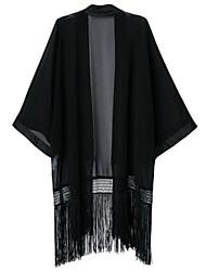 Women's Solid Black Wrap , Waist line Long Sleeve