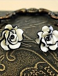 Fashion Black And White Rose Earring