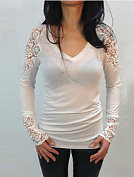 Women's Patchwork / Lace White / Black Blouse , V Neck Long Sleeve