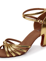 Customizable Women's Girl's Dance Shoes Latin / Salsa / Samba Leatherette Customized Heel Silver / Gold