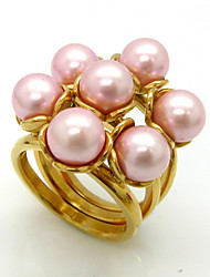 Luxury Pearl  Flower Dinner Rings 316L Stainless Steel Gold Plated Band Rings 1pc