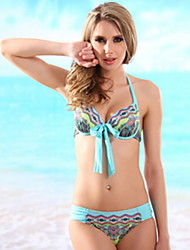 Women's Halter Bikinis , Floral/Animal/Bandage Push-up/Underwire Bra/Padless Bra Polyester/Spandex Animal Print