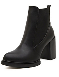 Women's Shoes Leather Chunky Heel Snow Boots / Riding Boots/ Combat Boots Boots Outdoor / Office & Career / Casual Black