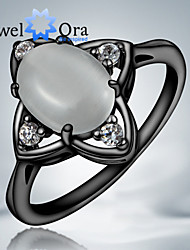 "New White Flower Delicate Opal Luxurious CZ Stone ""Black Gold"" Plated Band Ring For Woman&Lady"